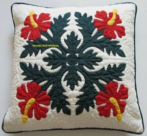 """2 Hawaiian quilt 100% hand quilted/appliquéd cushions pillow covers 16""""x16"""""""