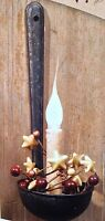 NEW!!! Primitive Country Rustic Metal Wall Hanging Ol' Ladle Taper Candle Holder