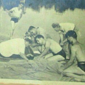 1940s B&W Photo Drowning Victim Lifeguards Lake House