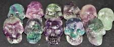 Kristallschädel 1 Pocket aus Regenbogenfluorit neu & aktiviert, Crystal Skull