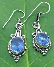 Vintage Style Blue Amythyst Drop Dangle Earrings Hook Fastening Silver Plated