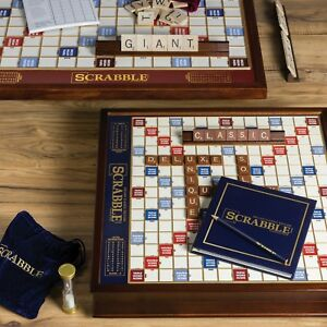 Winning Solutions Scrabble Deluxe Edition Wooden Board Game NEW