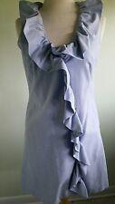 Sundress Light Blue Ruffles Lined Theme Brand Womens Sleeveless 100% Cotton Sz M