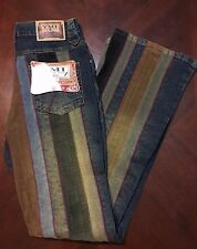 YMI Lets UBU Womens VTG 90s Hippy Style Multi Colored Bootcut Jeans JR Size 1