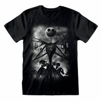 Men's The Nightmare Before Christmas Stormy Skies Black T-Shirt - Disney Tee