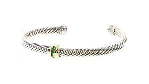 DAVID YURMAN Cable Classics Single-Station Bracelet Emerald & 14K Gold $750 NEW