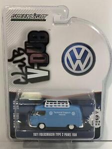 1971 VW Volkswagen T2 Type 2 Panel Van Blue 1:64 Scale Greenlight 29980A
