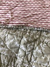 Pottery Barn Green Floral Red Petite Floral Stripe Quilted Euro Pillow Sham Euc
