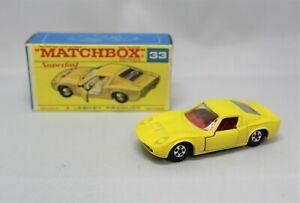 "Matchbox Lesney Superfast No33 LAMBORGHINI MIURA  "" V RARE YELLOW with F1 BOX """