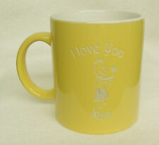Yellow Coffee Mug - I Love You Mum with a boy and a flower Sand Etched on it.
