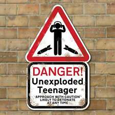 Unexploded Teenager Sign, Funny Boys bedroom sign, Kids Danger Sign, Bomb Sign