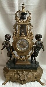 Imperial Brass and Marble Mantle Clock with Cherubs Quartz Movement