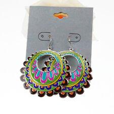 Women's Vintage Bohemian Boho Style Multicolor Enamel Flowers Dangle Earrings