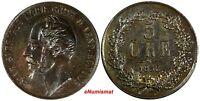Sweden Oscar I Bronze 1858/7 5 Ore Overdate UNC Condition 28.9mm KM# 690