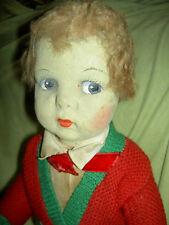 "Antique 1920s, jointed felt, Messina-Vat or Magit, 17"" Italian boy doll all orig"