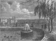 ST.JAMES'S. The fountain in the Green Park, 1808. London c1880 old print