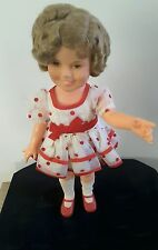 "NWOT Ideal Toy Company 1972 Shirley Temple 16"" vinyl doll red polka dot dress"