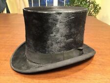 Antique 1880s YOUNG BROS. Genuine Black Beaver Fur Mens Top Hat Size 6-3/4 SMALL