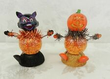 Halloween Cat & Pumpkin Figurine Bobble Head Glitter Snow Globe Colorful LED
