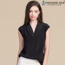 100% Crepe Silk Womens Overlap V-Neck Cap Sleeve Shirt