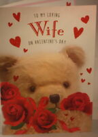 To my Loving Wife on Valentine's Day Card 22.75cm x 15.25cm bear with roses
