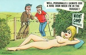 RUDE COMIC BAMFORTH NAKED LADY LIES NEAR GOLF COURSE CATCHES BALL POSTCARD - NEW
