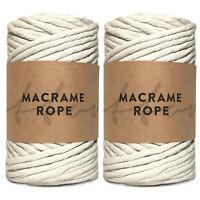 Recycled Macrame Rope 5mm Single Twist 100% Cotton Makramee Garn Chunky Yarn
