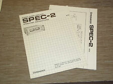 Pioneer Original SPEC-2 Stereo Amplifier Owners Operating Manual