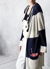 Gestreifte Damen-Pullover & Strickware aus Wolle mit V-Ausschnitt und Knöpfe