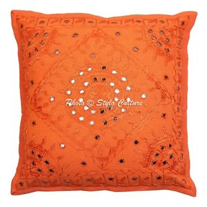 """Indian Mirror Embroidered Cushion Cover Decorative Pillowcase Cover 16"""" Throw"""