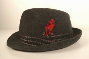 Vintage Attaboy Trilby Hat Men's Grey with Feather Size ?