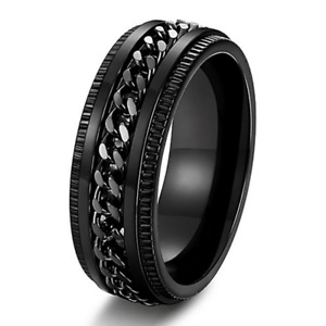 Anxiety Chain Spinner Ring Stainless Steel Men Woman Meditation Ring Thumb Ring