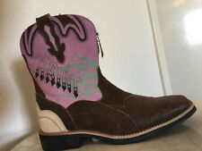 "ARIAT ""Zipitbaby"" Brown &  Pink Leather Western Low Heel Boots, US Wm Sz 6 M"