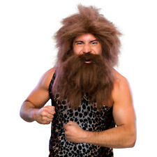 Caveman Wig And Beard Set Adult Brown Prehistoric Facial Hair Costume Halloween