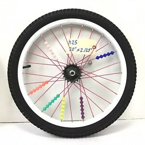"20"" Rear White Bicycle Wheel w/ Coaster Brake & 2.125"" Tire - Bmx Bike #k25"