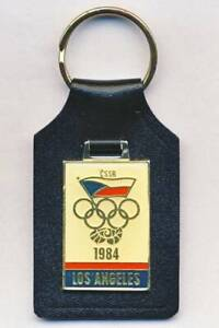 1984 LOS ANGELES Olympic Games CZECHOSLOVAKIA NOC KEYCHAIN Key Ring BOYCOTT