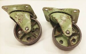 "Vtg antique iron 4"" swivel caster wheels industrial factory farm cart dolly"