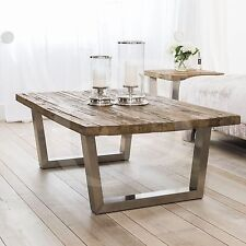 eGB723 - New Detroit Reclaimed Elm Wood Coffee Table with Brushed Steel Base