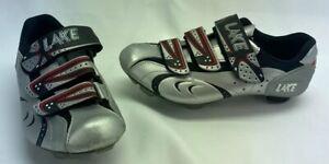 LAKE Cycling Shoes MX165 Womens Size US 6.5 - 7 EU 38 Silver Black Vibram Soles