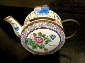 Pretty Vintage Enamel Miniature Collectors Hand Painted Porcelain Teapot 8 x10