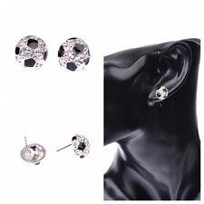 1 Pair Sports Black&White 3D Hemisphere Soccer Ball Football Stud Earrings Gift
