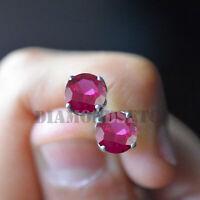 1.5CT Ruby  Diamond 14K White Gold Finish Stud Earrings Screw Back Wedding Gift