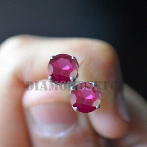 1.55 Ct Red Ruby Solitaire Stud 14k White Gold Over Womens Screw Back Earrings