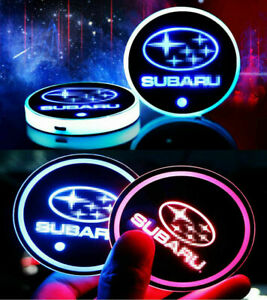 2PCS LED Car Cup Holder Lights Pad Mat Atmosphere Lamp Light 7 Colors for SUBARU