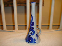 Cobalt Blue Pottery Vase Or Pitcher-Marked With An M-Lovely Blue Design & Color