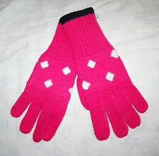 GAP Girls Pink & White Dotted Knitted Gloves Age 6-7 NWT