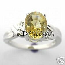 14CT WHITE GOLD NATURAL CITRINE & DIAMOND RING