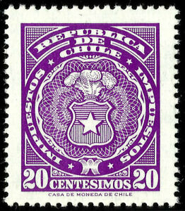CHILE, 20 CENTESIMOS, FISCAL TAX STAMP, MNH