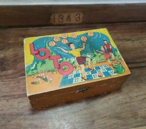 jouet ancien boite en BOIS de LOTO toys CARTES et jetons pions bois numéroté
