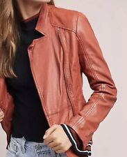 NWT Muubaa Biker Leather Jacket Size 6 Burnt Sienno